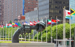 Sculpture at the United Nations Headquarters Plaza