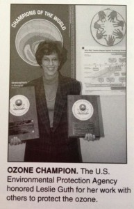 In 1990, Guth received an EPA award for her work to protect the ozone layer.